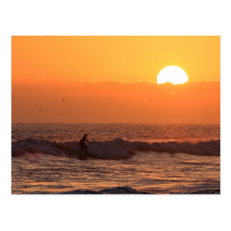 Sunset surfing postcard