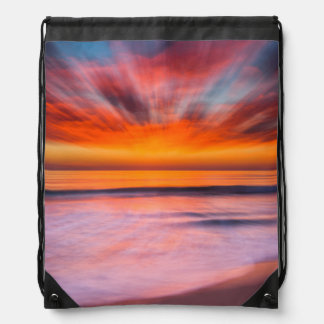 Sunset Tamarack Beach | Carlsbad, CA Drawstring Bag
