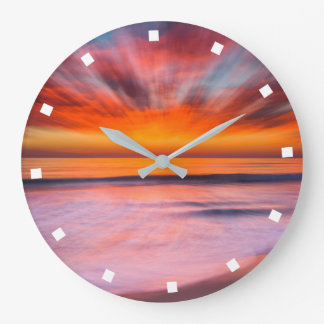 Sunset Tamarack Beach | Carlsbad, CA Large Clock