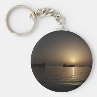 Sunset - Tartus seaport with ships Keychain