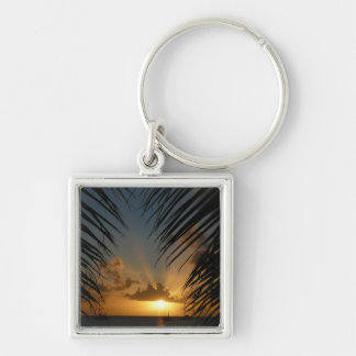Sunset Through Palm Fronds Tropical Seascape Keychain