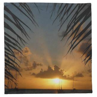 Sunset Through Palm Fronds Tropical Seascape Napkin