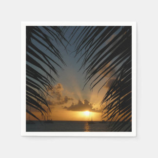 Sunset Through Palm Fronds Tropical Seascape Paper Napkin