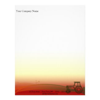 Sunset Tractor Illustration Letterhead Template
