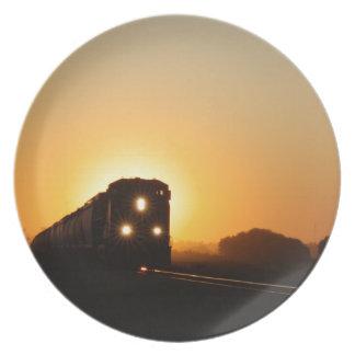 Sunset Train Dinner Plates
