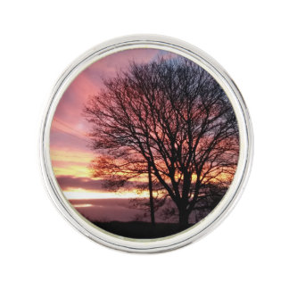 Sunset tree autumn colours lapel pin