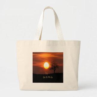 Sunset, Tree, Birds, Weimaraner, Dog Large Tote Bag