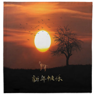 Sunset, Tree, Birds, Weimaraner, Dog Napkin