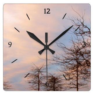 Sunset Trees In Winter Clock