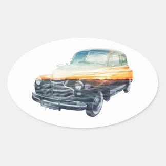 sunset vehicle double exposure oval sticker