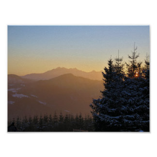 Sunset view of the Tatras mountains Poster