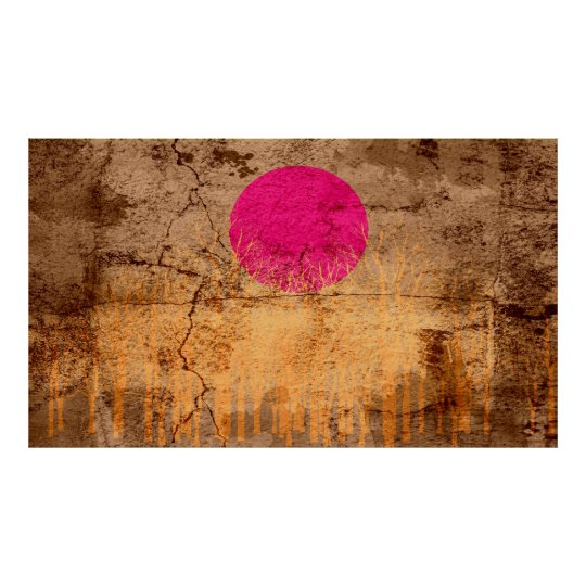 Sunset Vintage Abstract Painting Poster