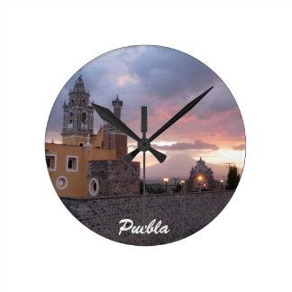 Sunset Volcano and Church Puelba, Mexico Round Clock