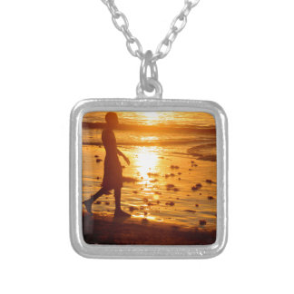 Sunset walk silver plated necklace
