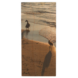 Sunset Walk With Mommy Wood USB Flash Drive