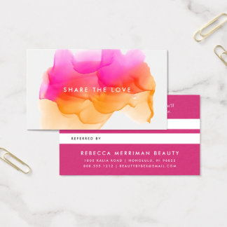 Sunset Watercolor Blot | Referral Business Card
