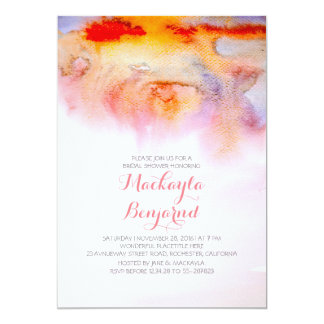 "Sunset watercolors bridal shower 5"" x 7"" invitation card"
