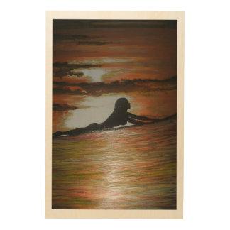 Sunset wave,last call wood print