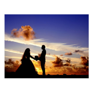 Sunset Wedding Couple Postcard