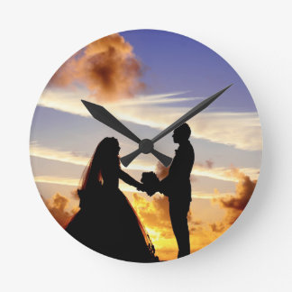 Sunset Wedding Couple Wallclock