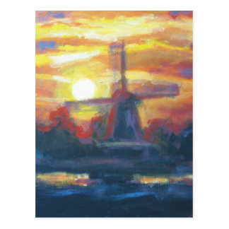 Sunset Windmill Painting Postcard