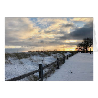 Sunset Winter Beach Blank Greeting Card