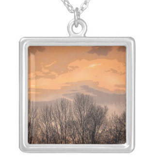 Sunset with Bare Trees Silver Plated Necklace
