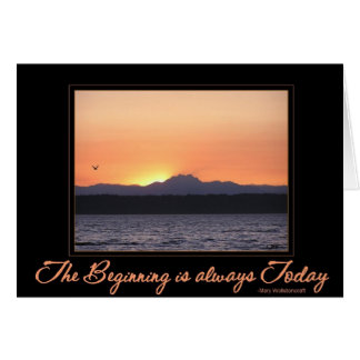 Sunset with bird -Beginning is Always Today Card