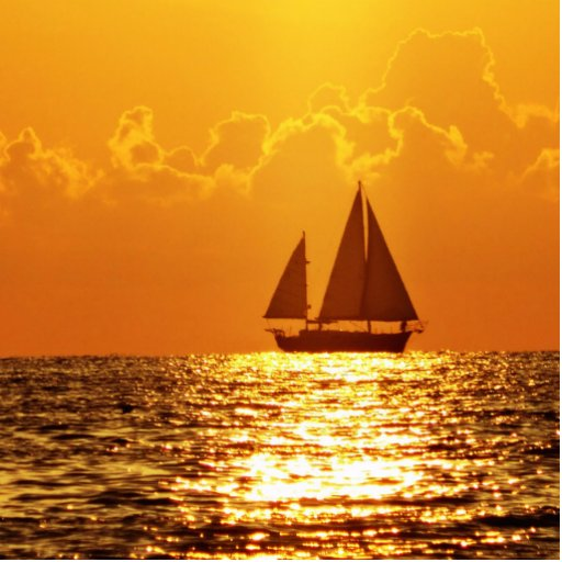 Sunset with Boat Photo Cutouts