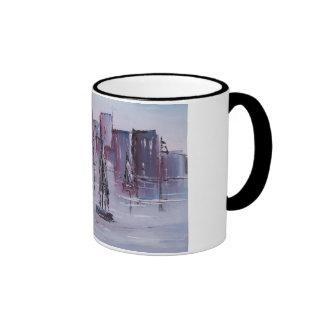 Sunset with Boats Ringer Coffee Mug
