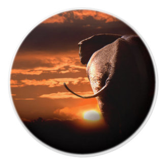 Sunset with Elephant Ceramic Knob