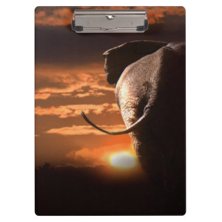 Sunset with Elephant Clipboard