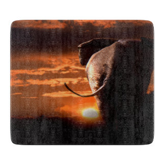 Sunset with Elephant Cutting Board