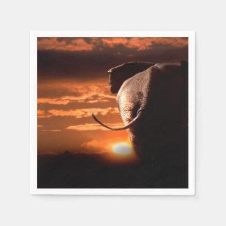 Sunset with Elephant Disposable Napkin