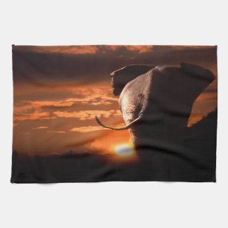 Sunset with Elephant Kitchen Towels