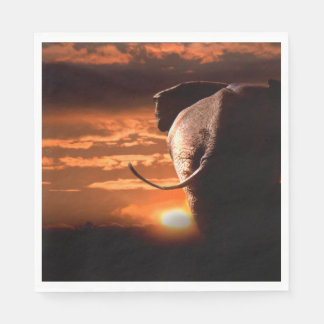 Sunset with Elephant Paper Napkins