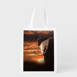 Sunset with Elephant Reusable Grocery Bag