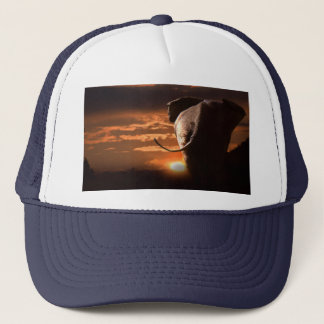 Sunset with Elephant Trucker Hat