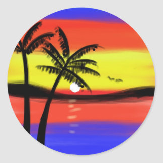 Sunset with Palm Trees Classic Round Sticker
