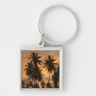 Sunset with Palm Trees, Moorea, French Polynesia Silver-Colored Square Keychain
