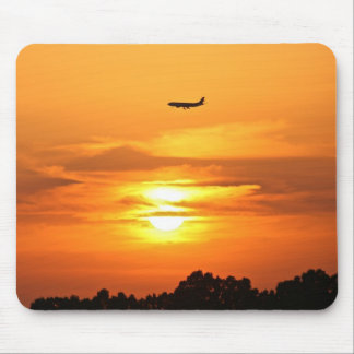 Sunset with Plane Mouse Pad