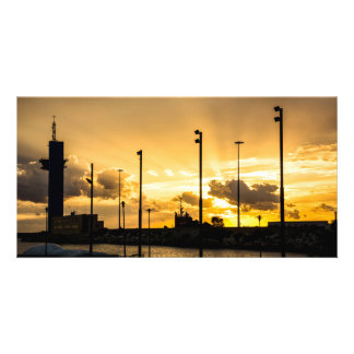 Sunset with rays of light filtering through clouds card