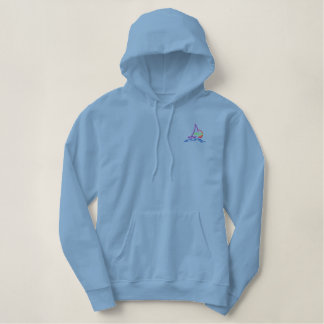 Sunset with sailboat embroidered hoodie