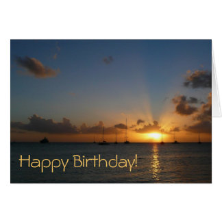 Sunset with Sailboats Birthday (Blank Inside) Card