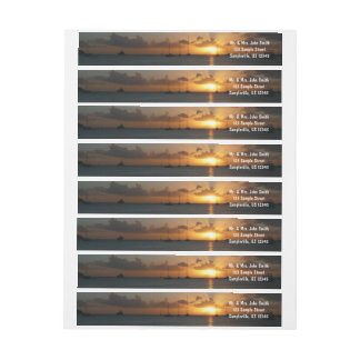 Sunset with Sailboats Tropical Landscape Photo Wrap Around Label