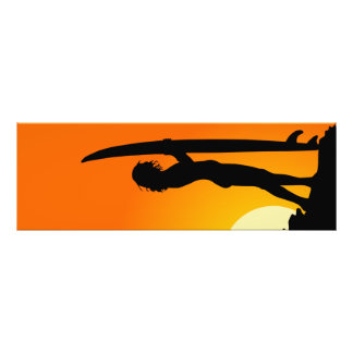 Sunset with surfer girl art photo