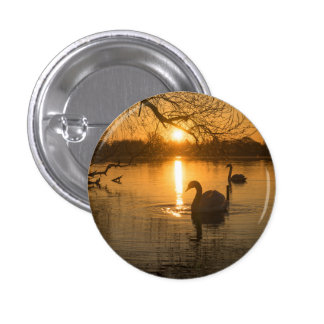 Sunset with Swan 1 Inch Round Button