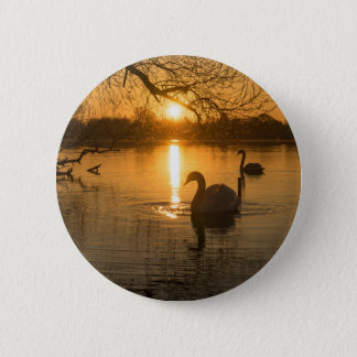 Sunset with Swan 2 Inch Round Button