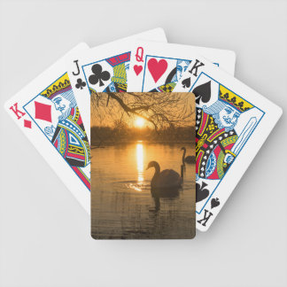 Sunset with Swan Bicycle Playing Cards