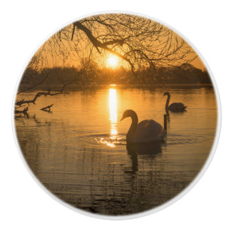 Sunset with Swan Ceramic Knob